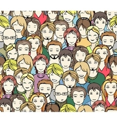 Crowd seamless pattern vector