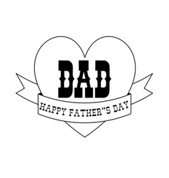 Fathers day black outline heart banner vector