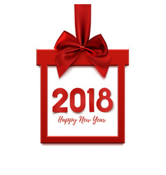 Happy new year 2018 square banner in form of gift vector
