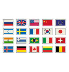 Flags icons in flat style simple flags of the vector