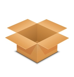 Open cardboard box on white vector