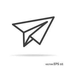 Paper plane outline icon black color vector