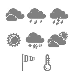 Weather symbols set contrast flat vector