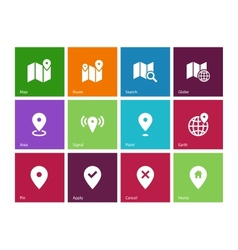 Map icons on color background GPS and Navigation vector image