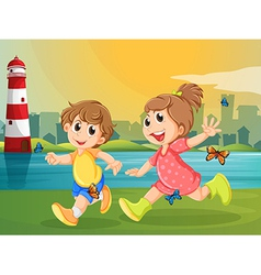 Two adorable kids running with butterflies vector image