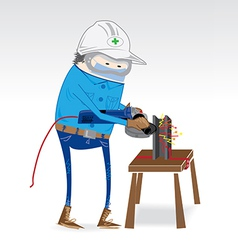 Dress for work grinding steel industry vector