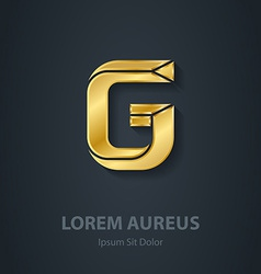 Letter g elegant gold font template for company vector