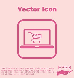 Laptop with symbol shopping cart vector