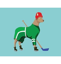 Hockey dog mascot in green sportswear vector
