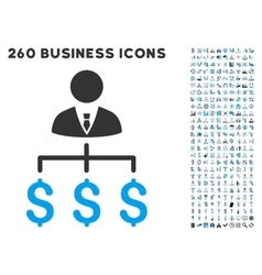 Boss payments icon with flat set vector