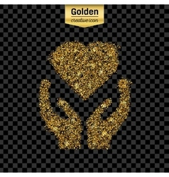 Gold glitter icon of heart in hand isolated vector