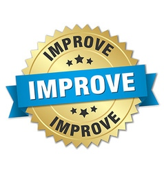 Improve 3d gold badge with blue ribbon vector