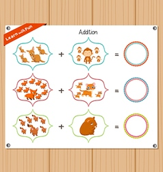 Addition number - worksheet for education vector