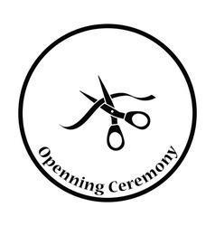Ceremony ribbon cut icon vector