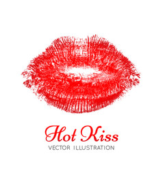 A bright scarlet imprint of the lips vector