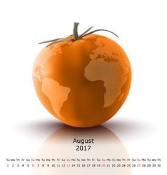August 2017 tomato calendar vector image vector image
