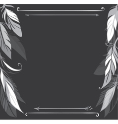 background with hand drawn feathers on vector image vector image