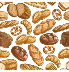 Bakery bread and pastry dessert seamless pattern vector