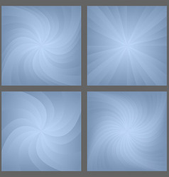 Blue spiral and star burst background set vector image