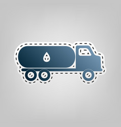 Car transports oil sign blue icon with vector