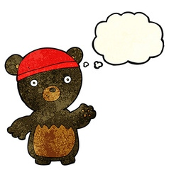cartoon black bear wearing hat with thought bubble vector image
