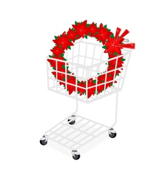 Christmas wreath of red poinsettia in shopping car vector