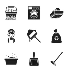 Cleaning set icons in black style Big collection vector image vector image