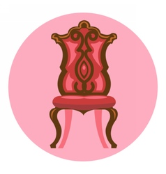 Digital long red and brown vintage chair vector image vector image