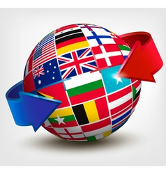Flags of the world in globe with an arrow vector image vector image