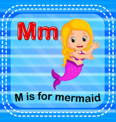 Flashcard letter m is for mermaid vector