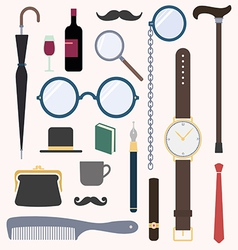 Gentlemens vintage stuff design elements set vector image vector image