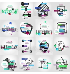 Hand-drawn symbols with infographic vector image