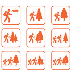 hiking icons set vector image vector image