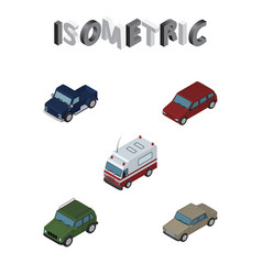 isometric transport set of suv auto car and vector image