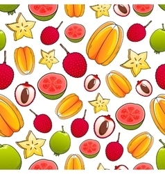 Juicy bright tropical exotic fruits pattern vector
