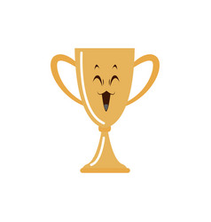 Kawaii golden trophy winner award cartoon vector