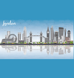 london skyline with gray buildings blue sky and vector image