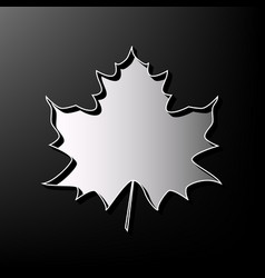 Maple leaf sign gray 3d printed icon on vector