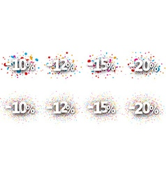 Paper discount signs set vector image