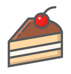 piece of cake filled outline icon food and drink vector image