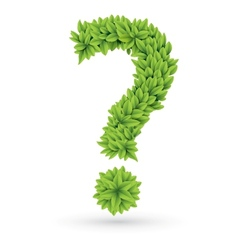 Question sign of green leaves with shadow vector image