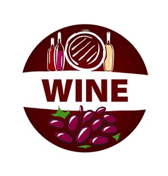 Round logo barrel and bottle of wine vector image