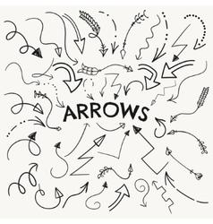 Set of black hand drawn arrow shaped vector