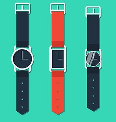 Set of hours on hand different form in flat style vector