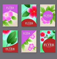Set of rectangular cards with red and pink flowers vector image