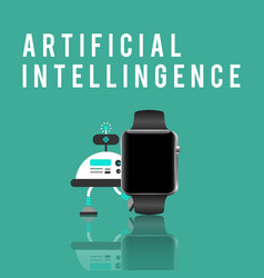 smart watch and artificial intelligence vector image