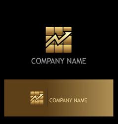 Square arrow progress gold business logo vector