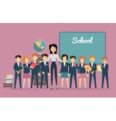 Teacher and pupils near chalkboard back to school vector