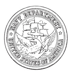 The seal of the navy department of the united vector