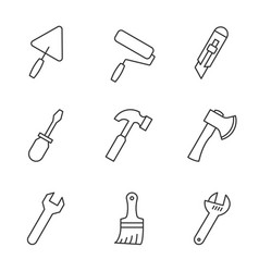 Tools outline icons vector